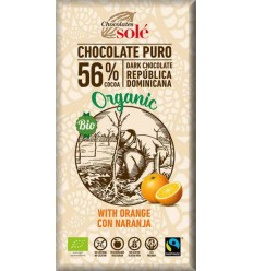Ciocolată neagră BIO cu portocale, 56% cacao, Chocolates Sole 100 g