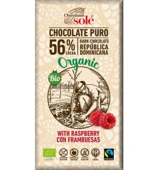 CIOCOLATA NEAGRA BIO 56%, CU ZMEURA, 100 g Chocolates Sole