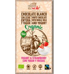 100 gr Ciocolată Bio cu iaurt de căpsuni