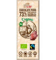 25 gr Mini tableta ciocolată neagră BIO 73% cacao Chocolates Sole