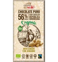 Ciocolată neagră BIO cu ghimbir, 56% cacao, Chocolates Sole 100 g