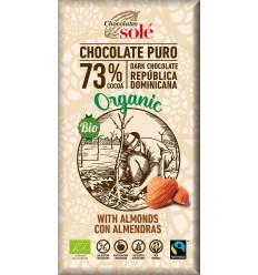 Ciocolată neagră BIO 73% cacao, cu migdale Chocolates Sole 100 g