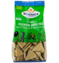 Snack bio din faina de grau spelta cu masline si ierburi de Provence, 150 g SOMMER