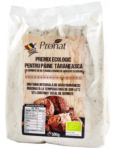 PREMIX BIO PENTRU PAINE TARANEASCA CU SEMINTE DE IN, FLOAREA SOARELUI, DOVLEAC SI SUSAN, 500G