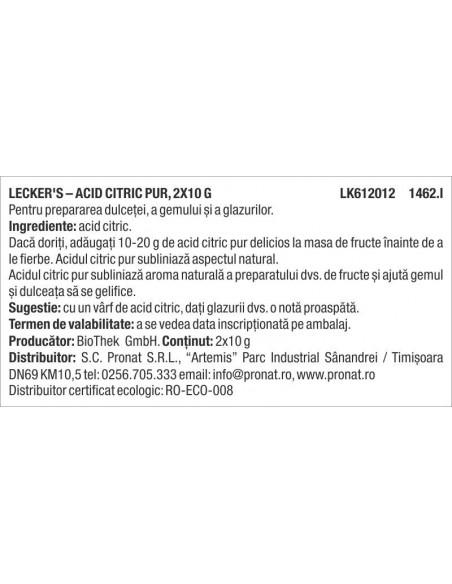 Acid citric pur, 2x10 g Lecker's