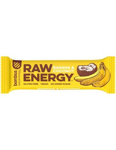 BATON PROTEIC RAW ENERGY CU BANANE SI NUCA DE COCOS, 50G BOMBUS