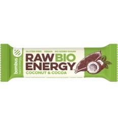 Baton energizant bio, Raw Energy, cu nuca de cocos si cacao 50g Bombus