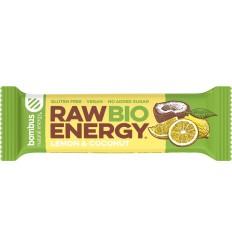 Baton energizant eco, Raw Energy, cu lămâie și nucă de cocos 50g Bombus