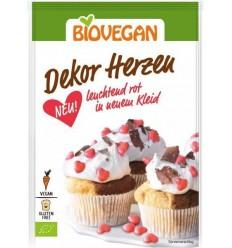 BIOVEGAN - Inimioare ecologice rosii pentru decorarea dulciurilor, 35 g