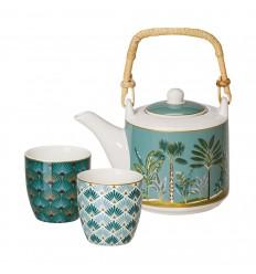 Set de ceai din portelan Atmosphere - un ceainic si doua cescute in cutie cadou
