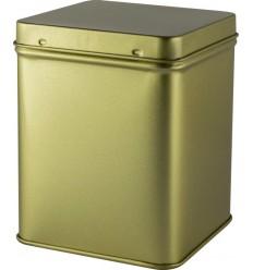 Cutie din metal cu capac, patrata, 100gr, pentru ceai Gold Star