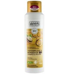 LAVERA - Sampon 2 în 1 reparator cu ulei de migdale si macadamia, 250 ml.