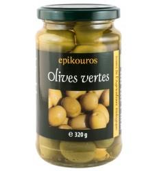 Epikouros - Masline verzi bio cu samburi in saramura, 320g