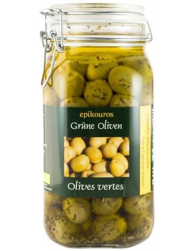 Epikouros - Masline verzi cu samburi in ulei, BIO, 1,55 kg