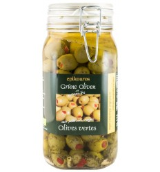Epikouros - Masline verzi bio umplute cu ardei rosii in ulei, 1,50 kg