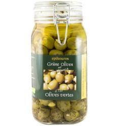 Epikouros - Masline verzi umplute cu usturoi in ulei, bio, 1,50 kg