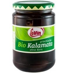 ELFIN- Măsline Bio Kalamata, fără sâmburi, 360g/190g