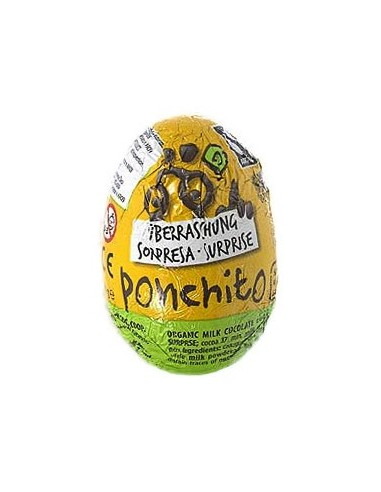Ponchito - Ou cu ciocolată și lapte bio, cu jucărie surpriză, 20 g