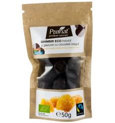 Ghimbir îndulcit și glazurat cu ciocolată neagră, 60 gr