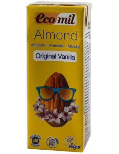 ECOMIL – Bautura BIO de migdale cu vanilie indulcita cu sirop de agave, original, 200 ml, cu pai