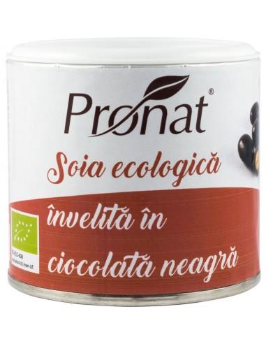 Boabe BIO de soia prajite, invelite in ciocolata neagra, 100g