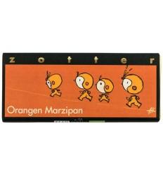 ZOTTER – Ciocolata BIO facuta manual cu portocale si martipan, 70g