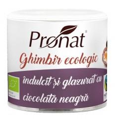 Ghimbir BIO indulcit si glazurat cu ciocolata neagra, 90 gr